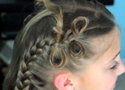 плетение косичек бантики на средние волосы фото пошагово