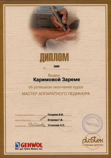 Диплом Каримовой Зареме