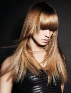 слоистые челки на длинных волосах