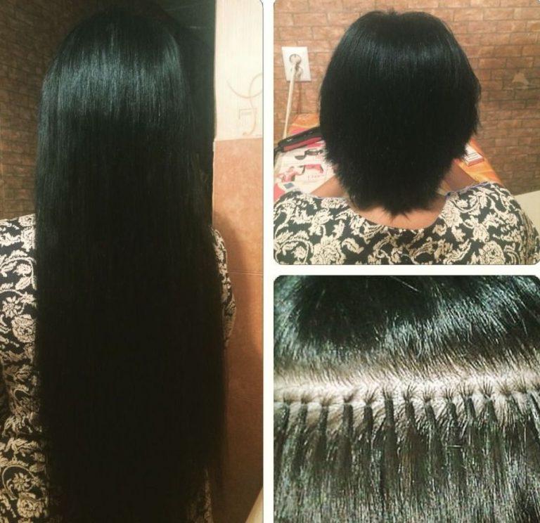 наращивание на короткие волосы фото до и после