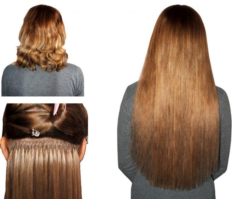 наращивание волос на короткие волосы, фото до и после