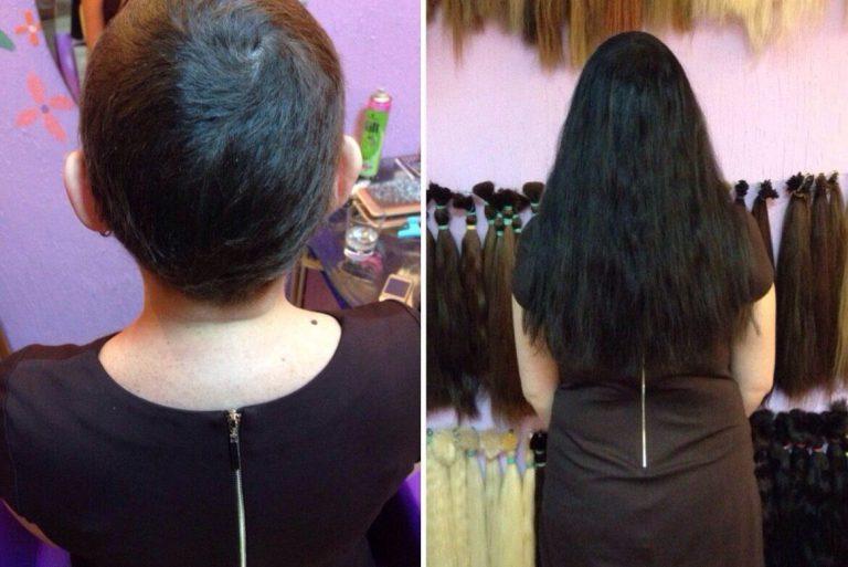 наращивание волос на короткие волосы: фото до и после