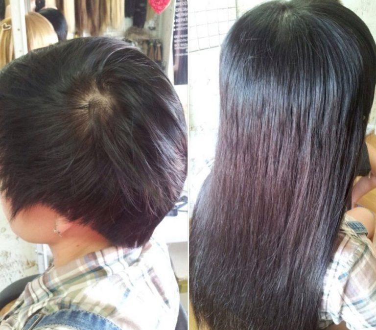 наращивание волос фото до и после
