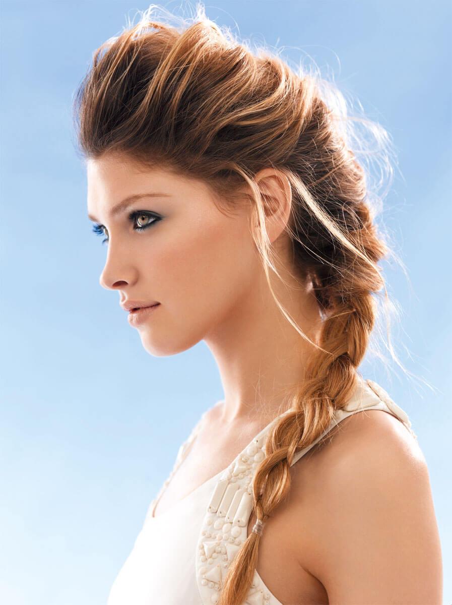 Высокая прическа с косами на длинные волосы фото