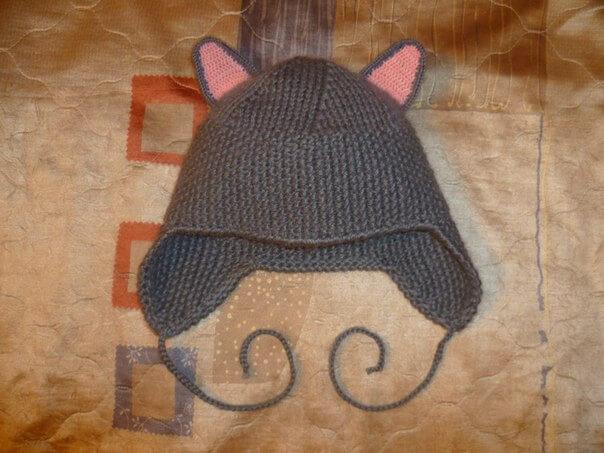 фото вязаная шапка с ушками кошки