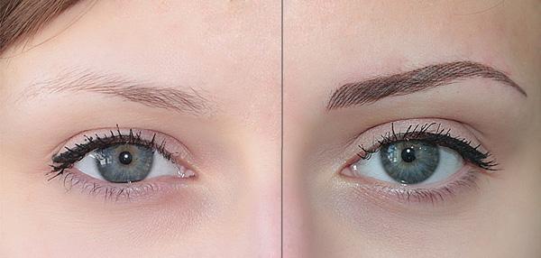 фото до и после наращивания бровей