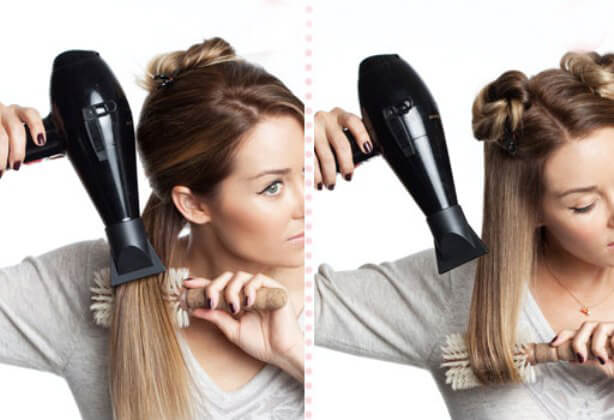 фото выпрямления волос феном