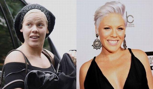 пинк до и после макияжа