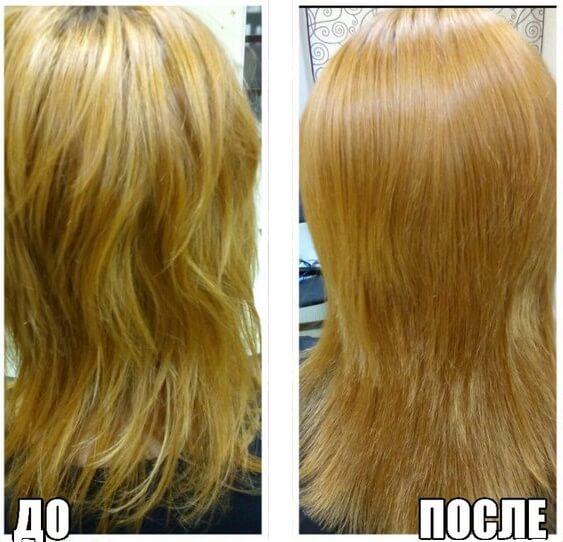 Эффект коллагенового обёртывания волос.
