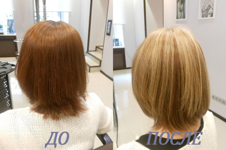 фото до и после окрашивания мажимеш