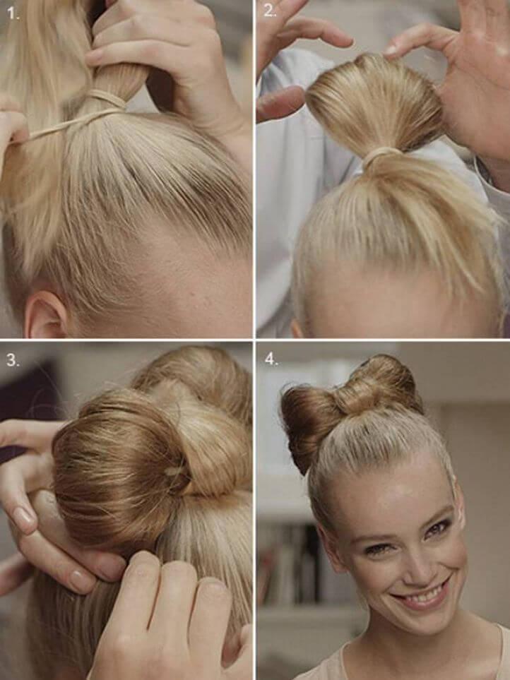 прическа бантик из своих волос пошаговая инструкция