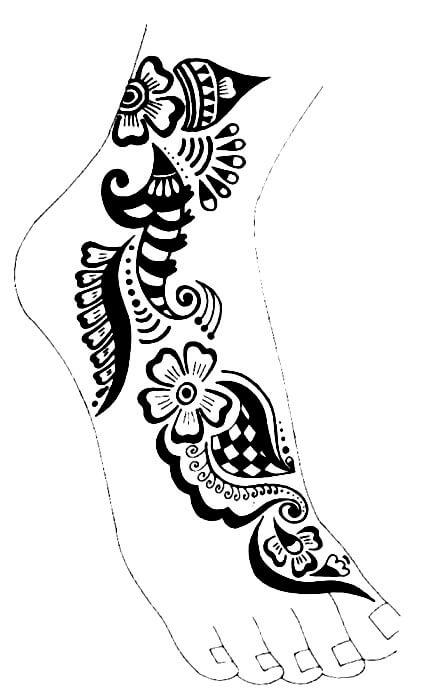 фото эскиз мехенди на ноге