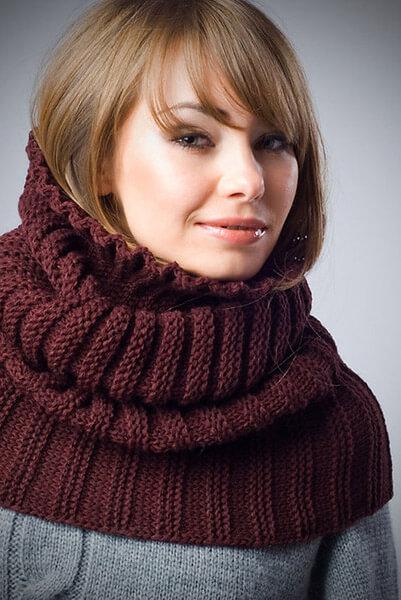фото снуд спицами поперечное вязание