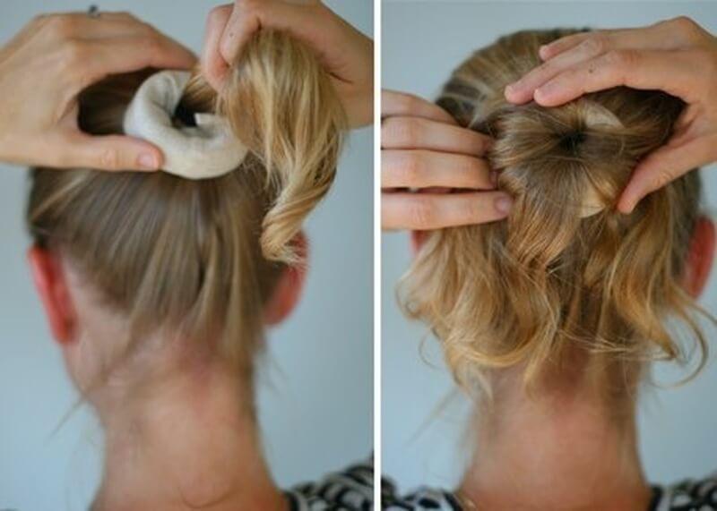 фото прическа для жидких волос с бубликом