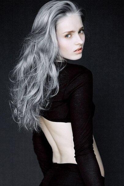 фото волос покрашенных серым антоцианином