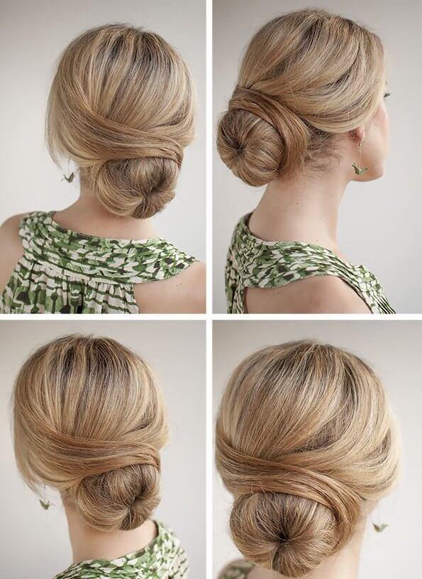 Прическа пучок на средние волосы с бубликом
