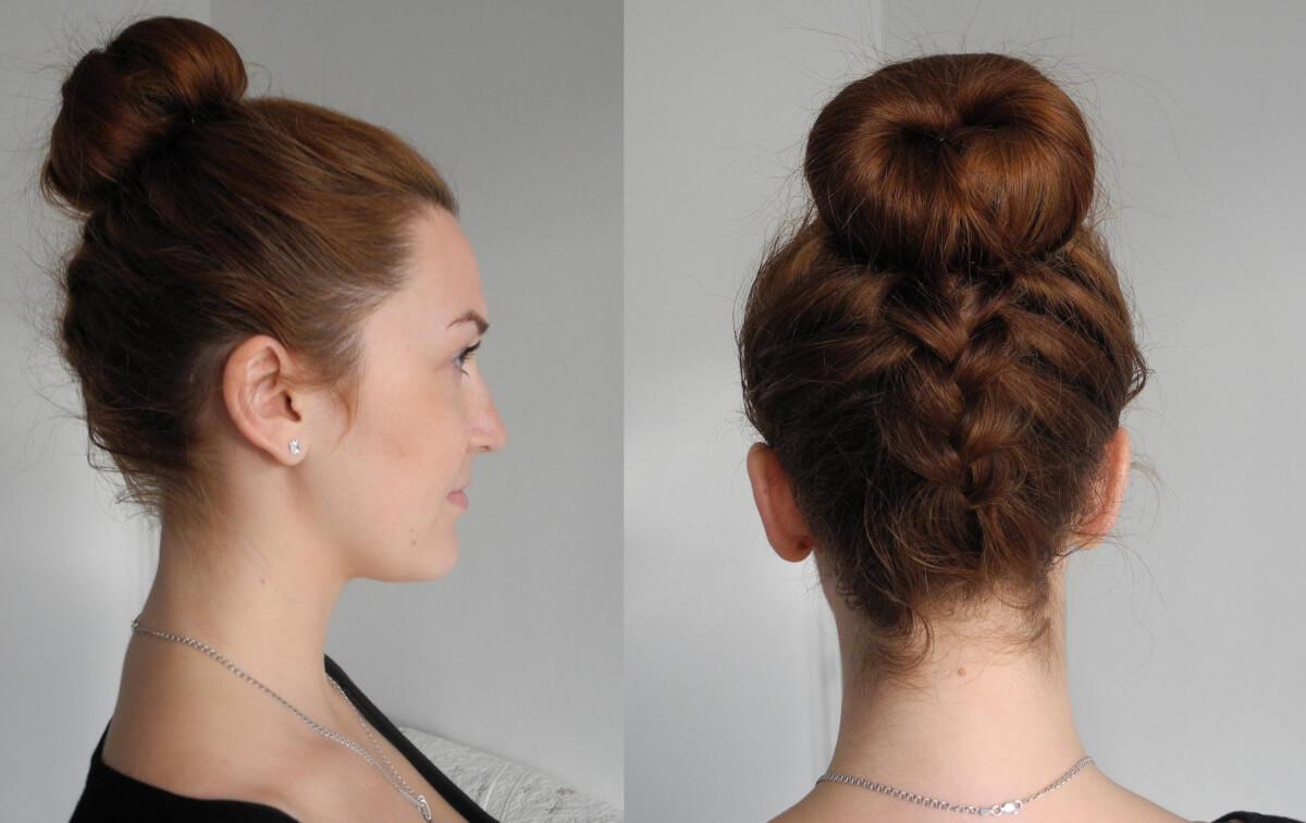 фото прическа с бубликом на средние волосы с косой