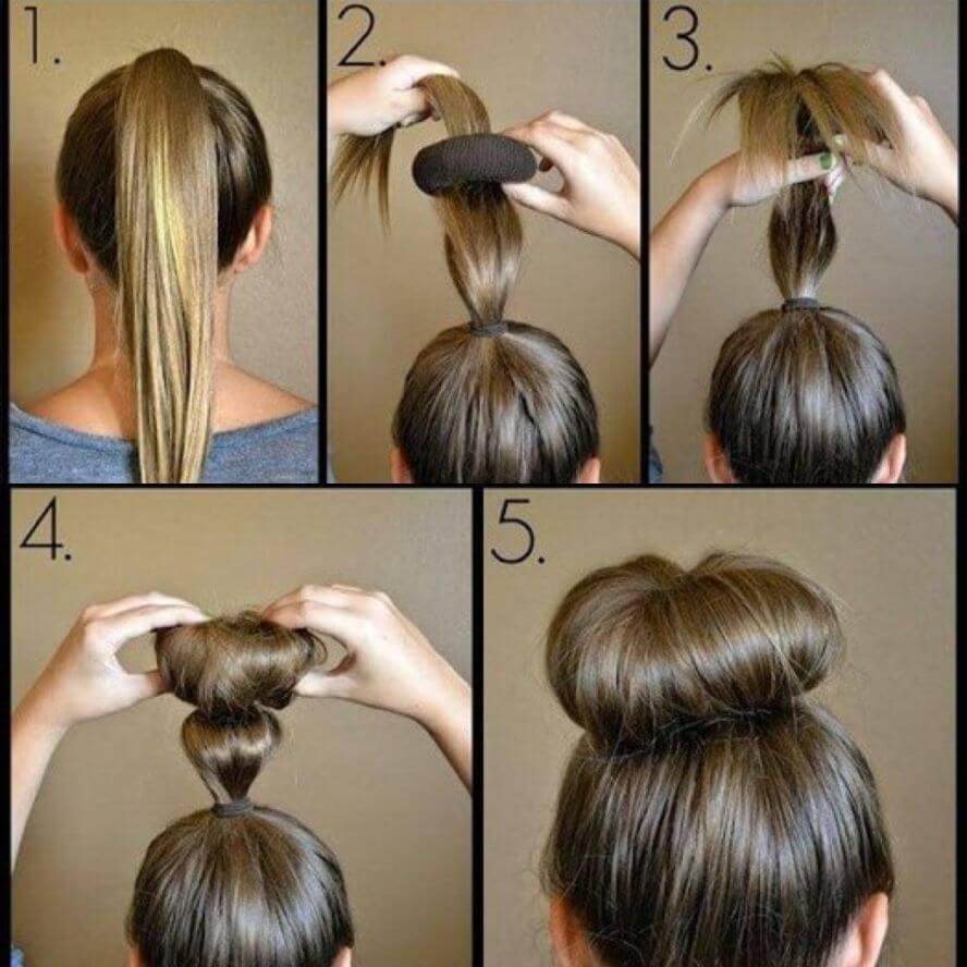 фото прическа с бубликом на средние волосы