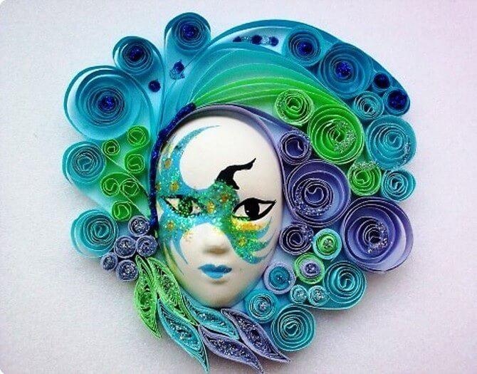 фото кранавальной маски в технике квиллинг