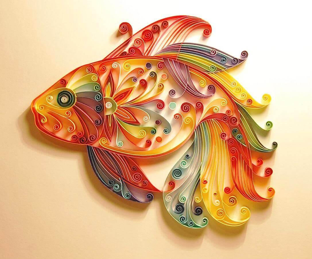 фото золотой рыбки выполненной в технике квиллинг