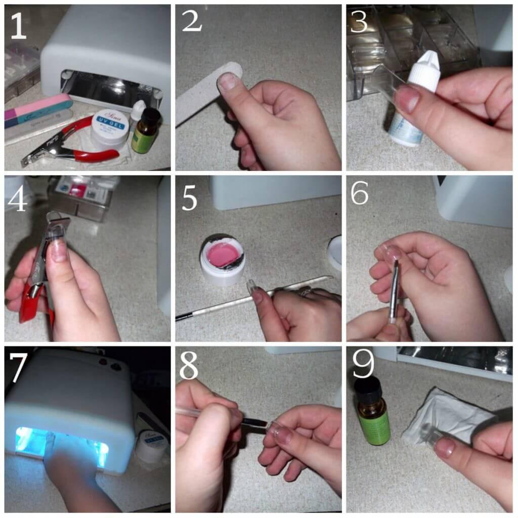 Как наращивать ногти гелем на формы пошаговая инструкция