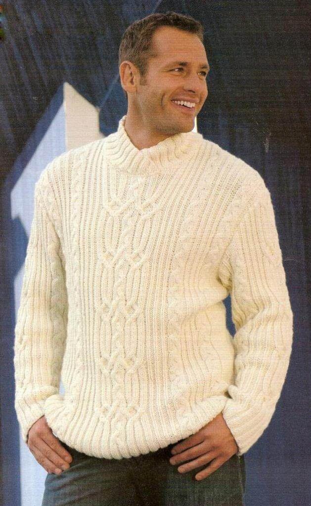 Фото свитер для мужчины фактурной вязки