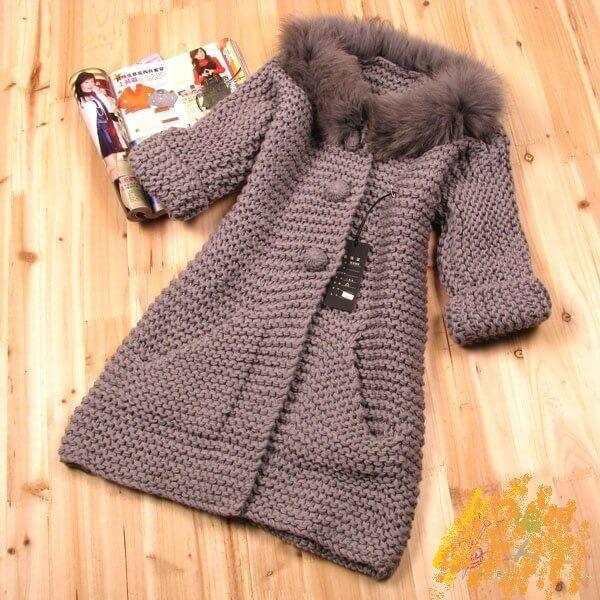 Фото пальто платочной вязкой с мехом