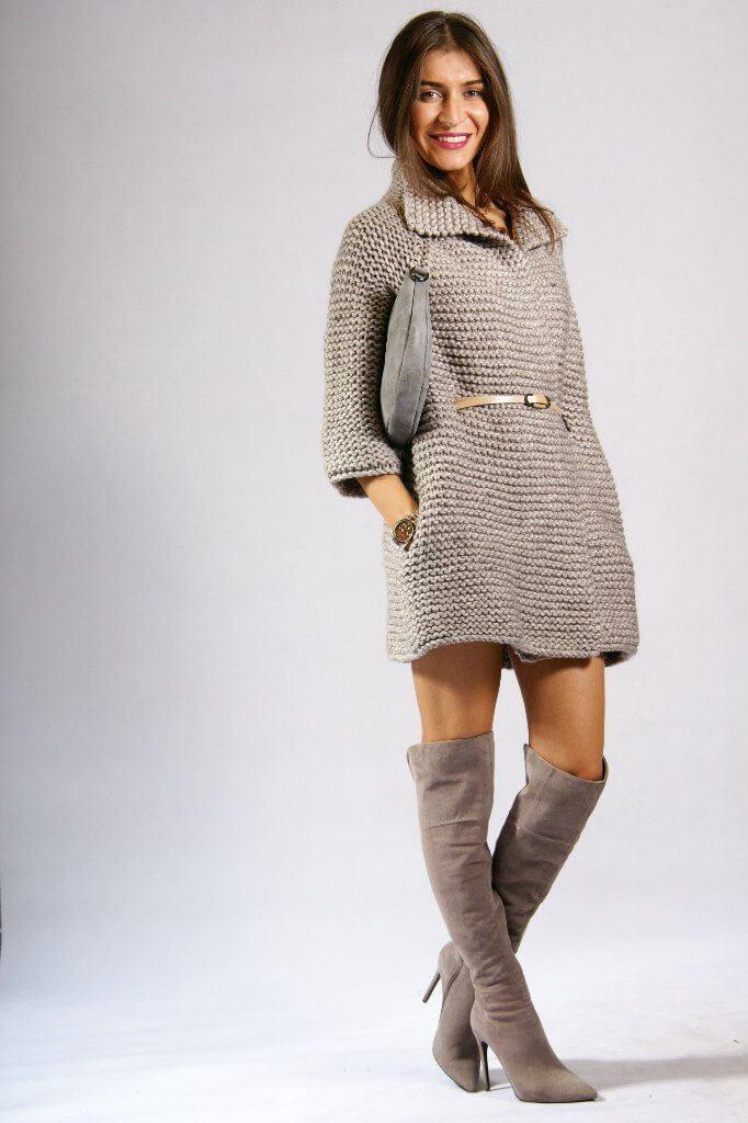 Фото пальто платочной вязкой