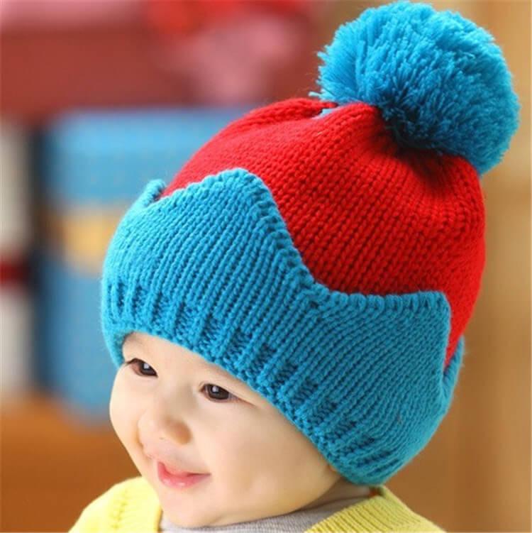 Фото двойная вязанная шапочка для мальчика 3 лет и старше