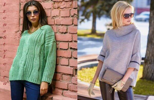 Фото модный пуловер не приталенного силута