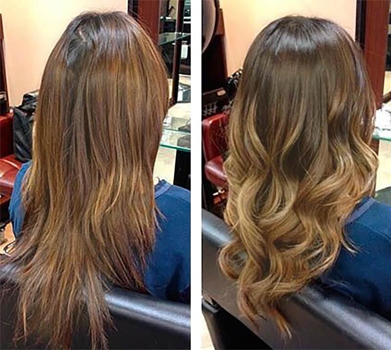 балаяж светлых волос фото до и после