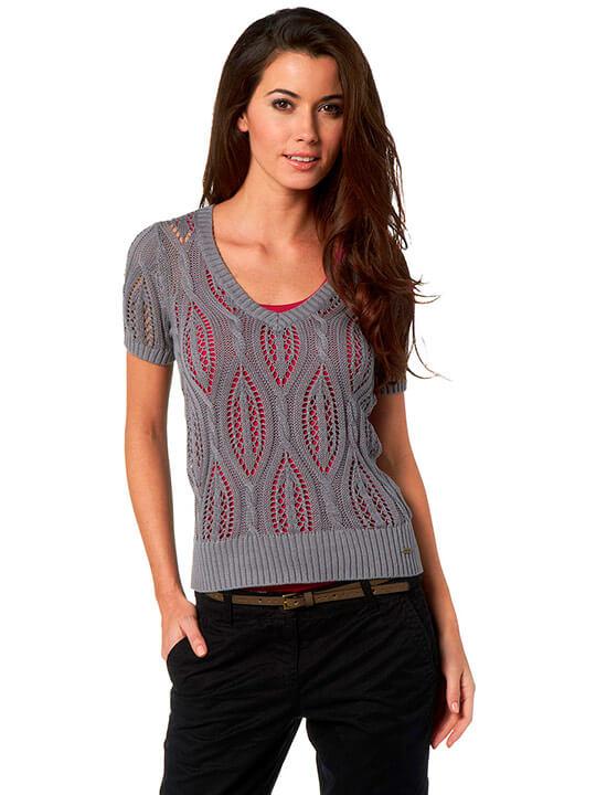 Фото модный короткий пуловер спицами