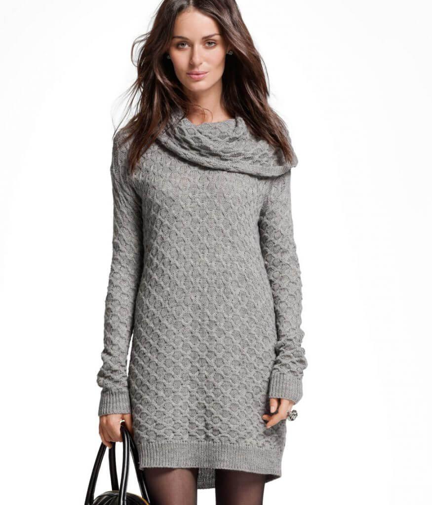 Фото свитер-платье связанное спицами