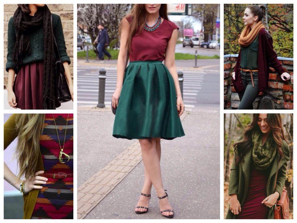 Сочетание марсала и оттенков зеленого в одежде