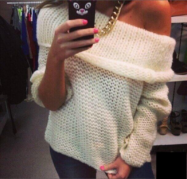 Фото женский вязанный пуловер спицами