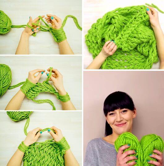 Фото шарф, связанный на руках