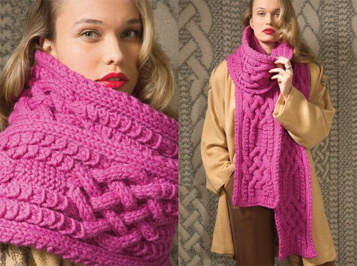 Фото объемный шарф спицами