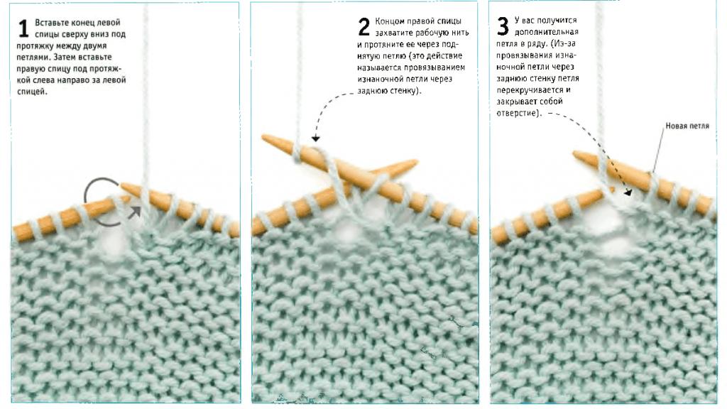 Вязание спицами петли с протяжками 933