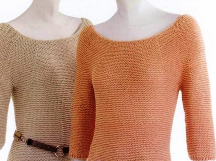 Фото свитер для женщины платочной вязкой