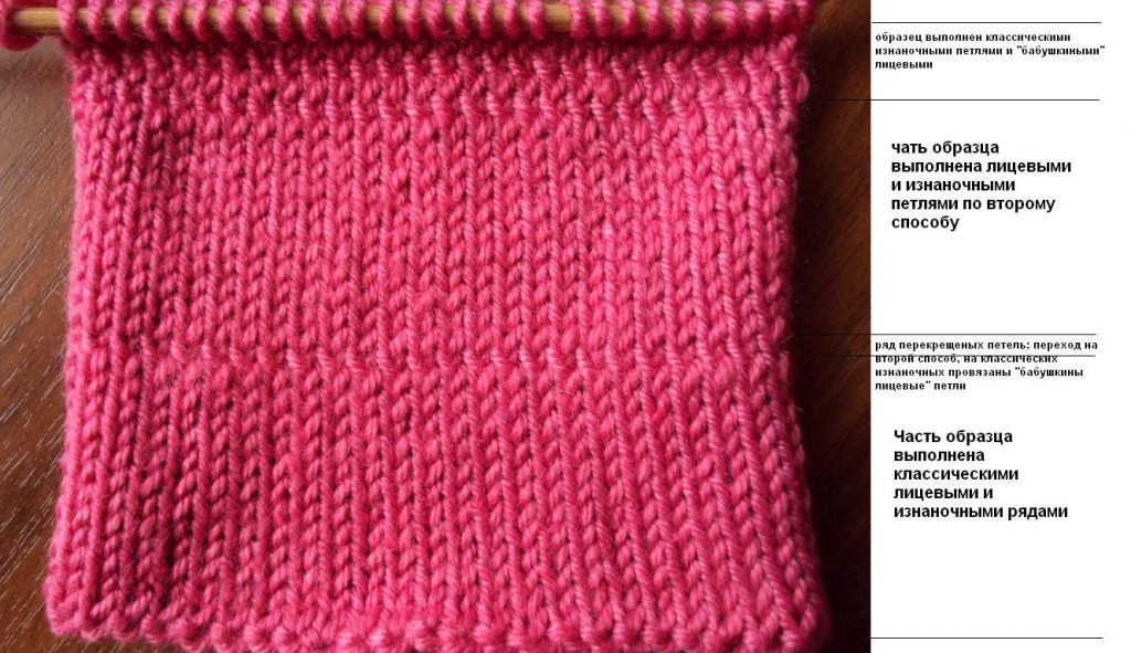Фото отличия классического и бабушкиного способа вязания лицевых петель