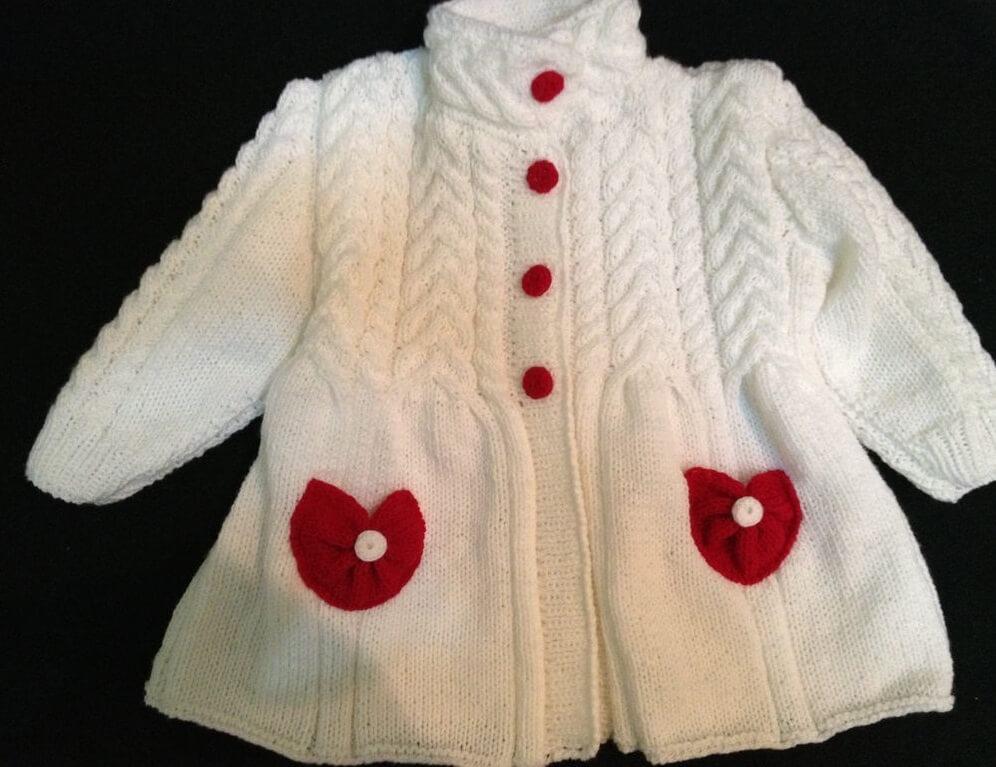 вязаное пальто для девочки 1 год спицами с описанием