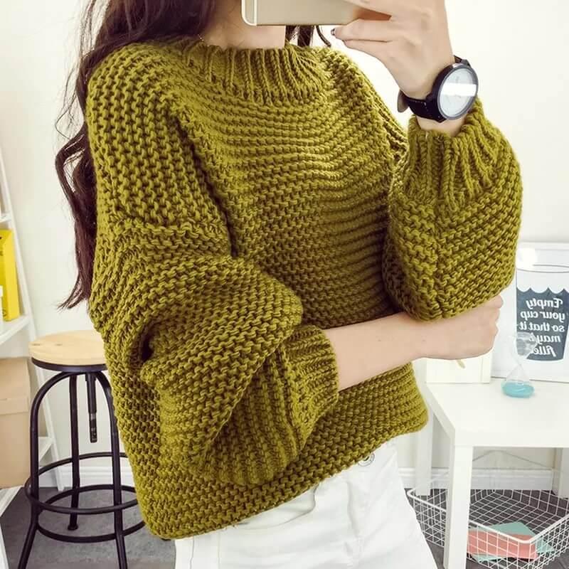 Фото простая модель свитера для вязания спицами