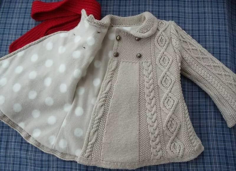Фото пальто спицами для девочки 1 года с подкладом