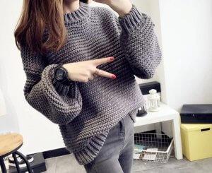 Фото простая модель свитера платочной вязкой