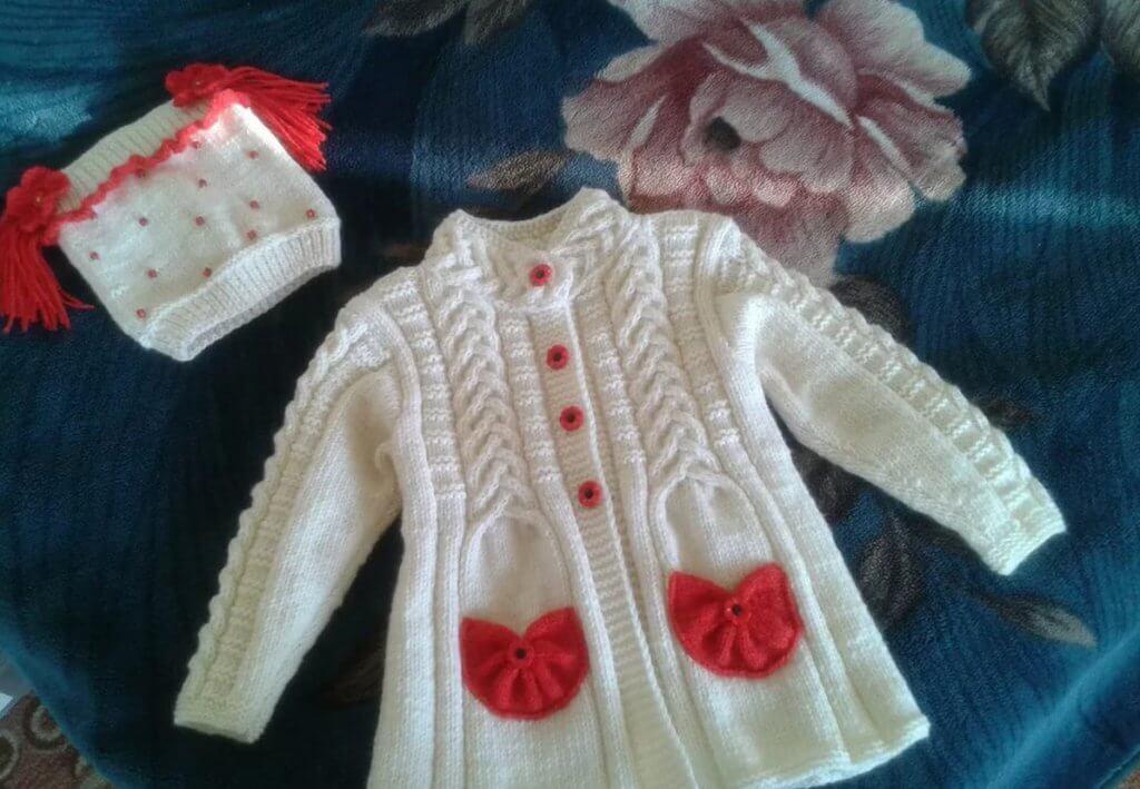 Фото пальто для девочки 1 год спицами