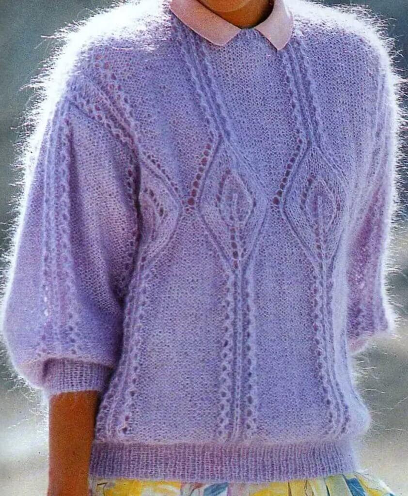 Фото мохеровый свитер с ажурным узором спицами