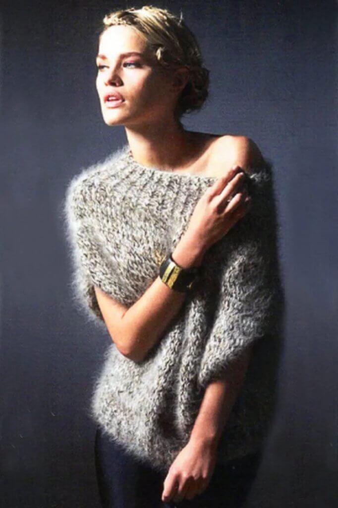 Мохеровый свитер для женщин вязание для начинающих