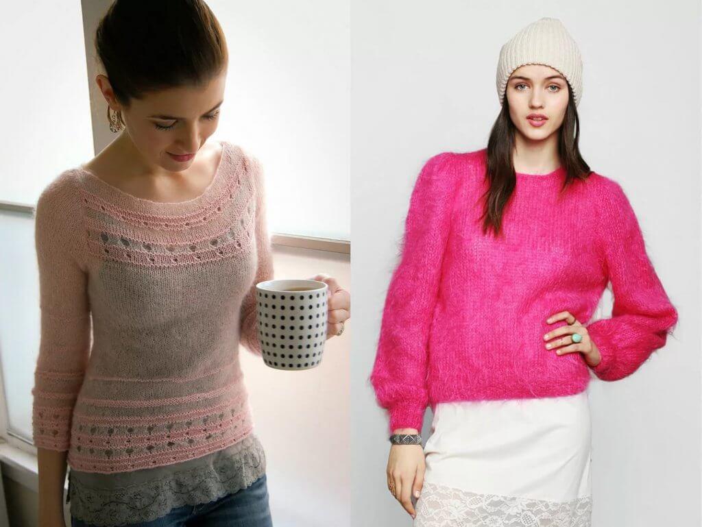 Фото модели свитеров для женщин из мохера