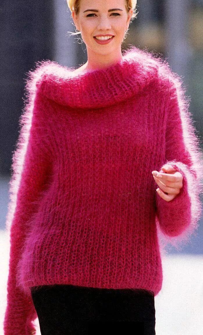 Мохеровые женские свитера вязание спицами, схемы