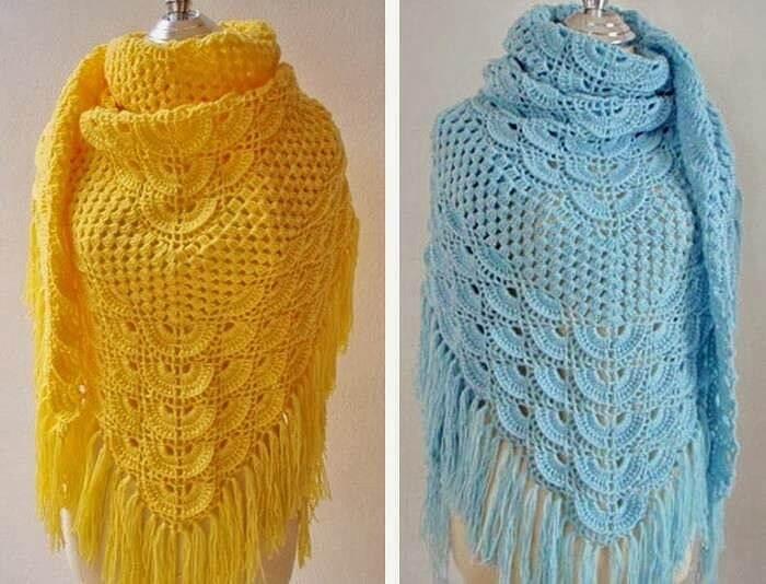 Фото два варианта одной шали разными цветами